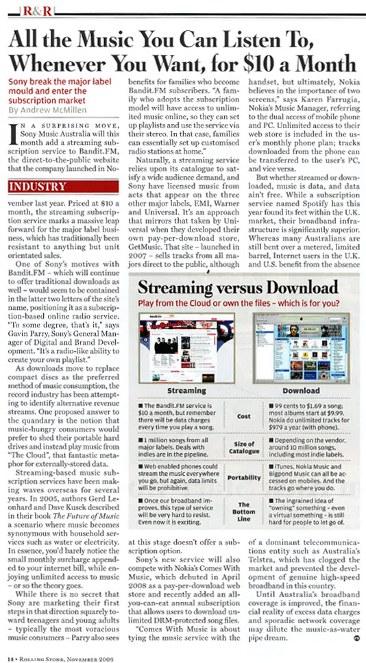 Rolling Stone Australia article from the November 2009 issue on streaming music subscriptions