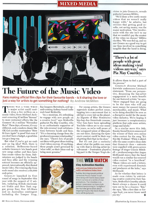 Rolling Stone article, December 2009: fan-sourced music videos, by Andrew McMillen