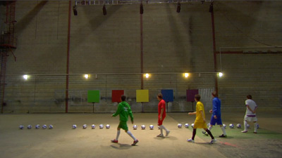 Photo from the set of Kasabian's 'Football Hero' video