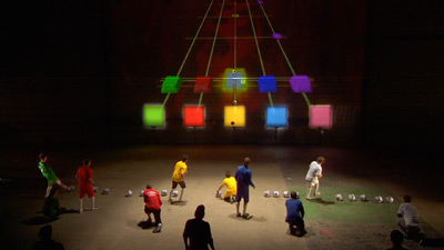 A photo from the set of Kasabian's 'Football Hero' video