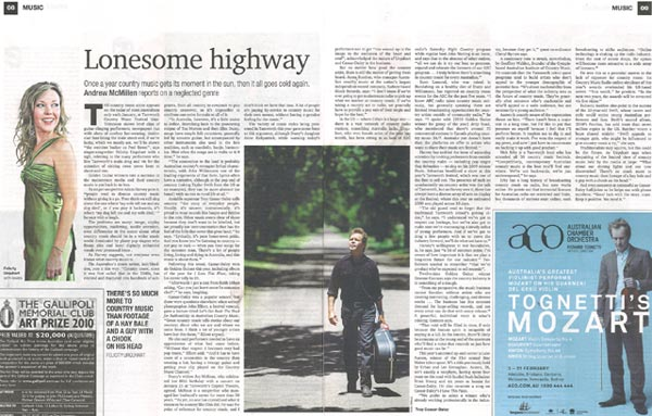 'Lonesome Highway' by Andrew McMillen, The Weekend Australian Review, 6 February 2010