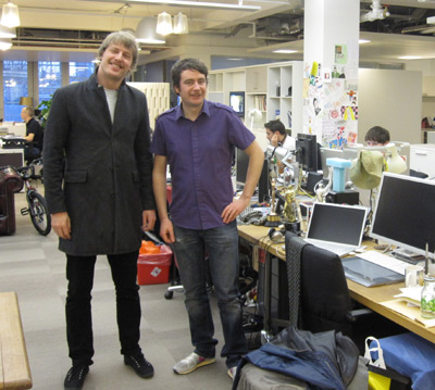 Steve Milbourne and Phil Clandillon at the Sony Music London office