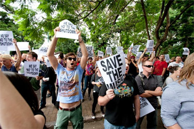 Photo of the 'Reclaim The Nightlife' protest in Brisbane, March 2010, by Elleni Toumpas