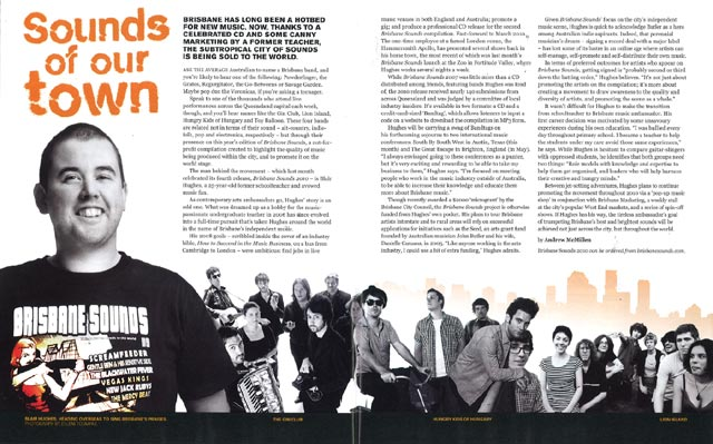 The Big Issue story, 'Sounds Of Our Town' in issue 350, by Andrew McMillen