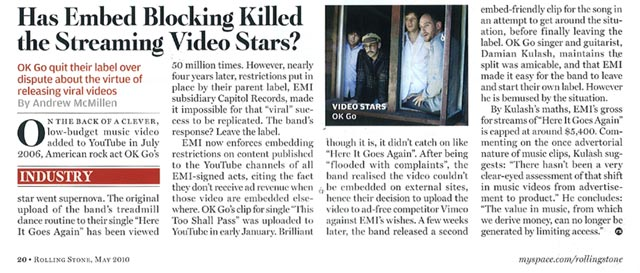 Rolling Stone Australia story by Andrew McMillen - OK Go and embedded music videos