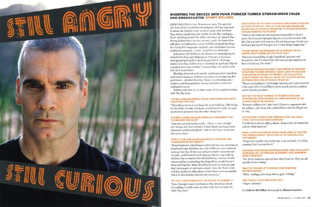 Henry Rollins: Still Angry, Still Curious story in The Big Issue Australia by Andrew McMillen