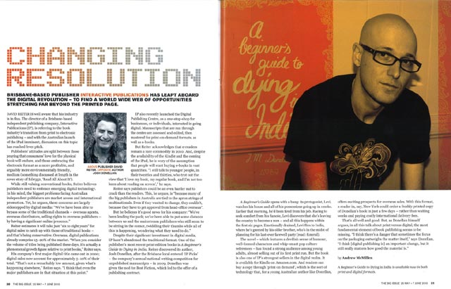 The Big Issue story: 'Changing Resolution', featuring Interactive Publications and Josh Donellan