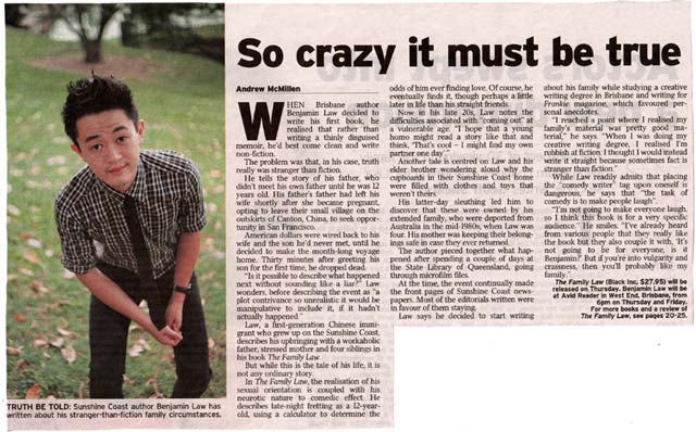 Benjamin Law's 'The Family Law' story in The Courier-Mail's ETC section, by Andrew McMillen