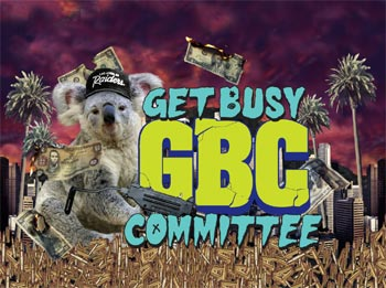 Get Busy Committee koala/uzi logo