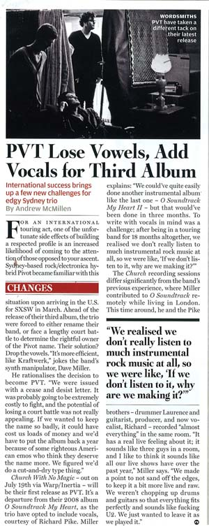 Rolling Stone Australia story, August 2010: PVT Lose Vowels, Add Vocals for Third Album