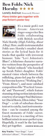 Album review of Ben Folds/Nick Hornny's 'Lonely Avenue' in Rolling Stone, October 2010