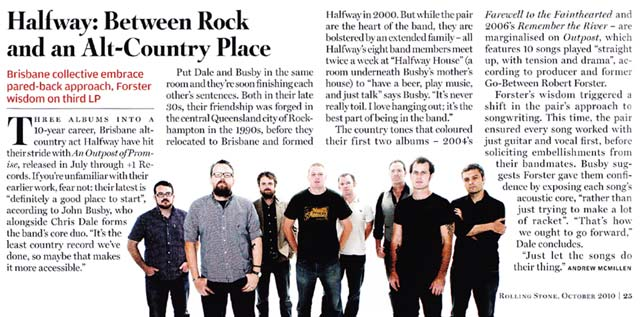 Halfway story in Rolling Stone magazine, September 2010, by Andrew McMillen