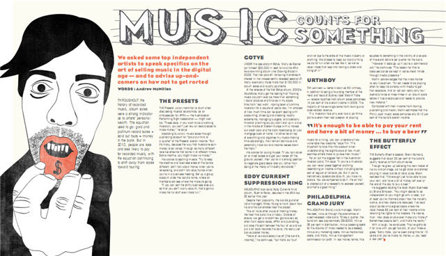 triple j mag story, September 2010: 'Music Counts For Something' by Andrew McMillen