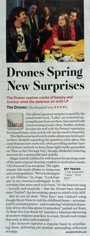 The Drones - 'I See Seaweed' album reviewed in March 2013 issue of Rolling Stone by Andrew McMillen