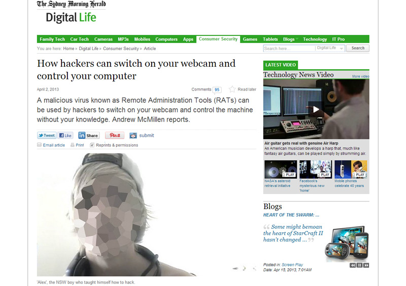 'How hackers can switch on your webcam and control your computer' story for Sydney Morning Herald by Andrew McMillen, April 2013