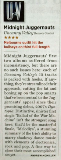 Midnight Juggernauts - 'Uncanny Valley' album reviewed in Rolling Stone Australia by Andrew McMillen, June 2013