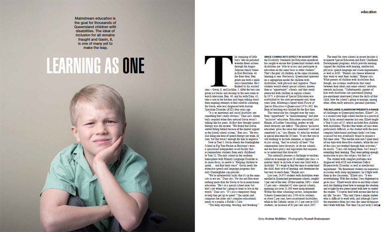 Qweekend story: 'Learning As One: Queensland inclusive education' story by Andrew McMillen, July 2013. Photo by Russell Shakespeare