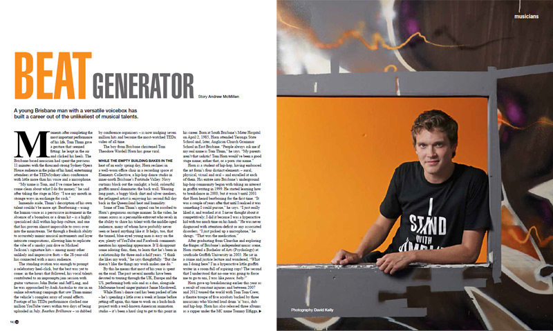 Qweekend story: 'Beat Generator: Tom Thum' by Andrew McMillen, October 2013. Photograph by David Kelly