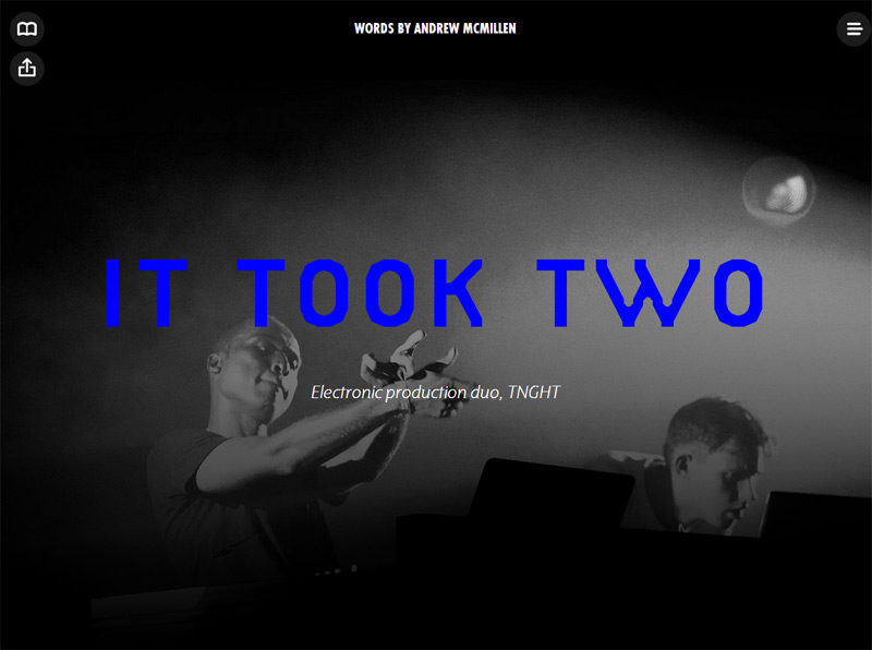 Red Bull story: 'It Took Two' by Andrew McMillen, about the electronic production duo TNGHT, January 2014