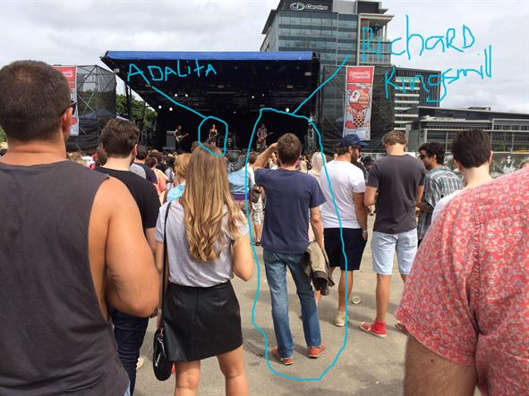 Richard Kingsmill watching Adalita at Laneway Festival 2014. Photo by Andrew McMillen