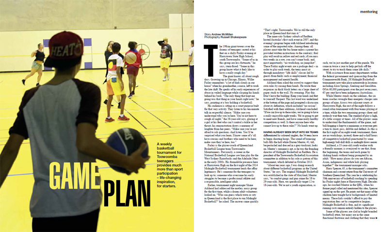 'Game Plan: Midnight Basketball' story by Andrew McMillen in Qweekend, June 2014. Photograph by Russell Shakespeare