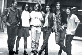 Qweekend story by Andrew McMillen: 'The Grass Is Greener: Paul Piticco', July 2014. Photograph of Powderfinger in 1991; Piticco is third from left.