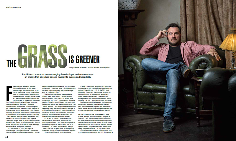 Qweekend story by Andrew McMillen: 'The Grass Is Greener: Paul Piticco', July 2014. Photograph by Russell Shakespeare