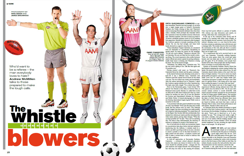 Good Weekend story: 'The Whistleblowers: Australian football referees', by Andrew McMillen, July 2014