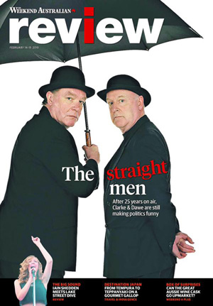 The Weekend Australian Review story: 'Clarke & Dawe: In The Line of Satire' by Andrew McMillen, February 2015