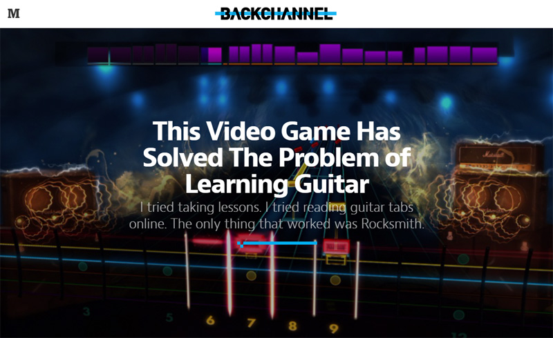 'This Video Game Has Solved The Problem of Learning Guitar' by Andrew McMillen on Backchannel, Medium.com, May 2015