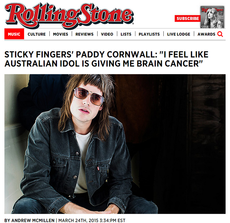 Rolling Stone story: 'The Last Page' Q+A with Sticky Fingers by Andrew McMillen, March 2015