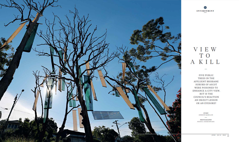 Qweekend story: 'View To A Kill: Brisbane tree vandalism' by Andrew McMillen, June 2015. Photograph by Russell Shakespeare