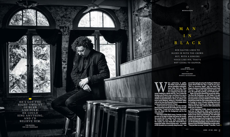 Qweekend story: 'Man In Black: Ben Salter' by Andrew McMillen, June 2015. Photography by Russell Shakespeare