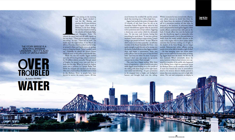 The Weekend Australian Magazine story: 'Over Troubled Water: Suicide at Brisbane's Story Bridge' by Andrew McMillen, September 2015
