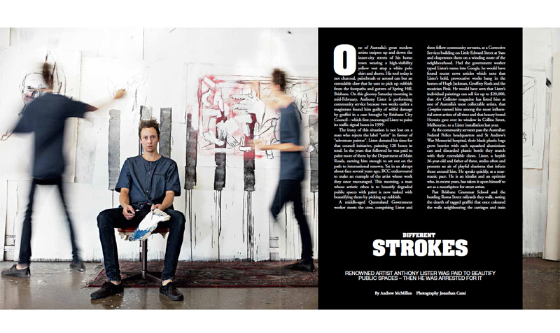 The Weekend Australian Magazine story: 'Different Strokes: Anthony Lister' by Andrew McMillen, April 2016