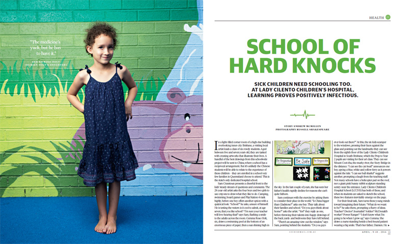 Qweekend story: 'School Of Hard Knocks: Lady Cilento Children's Hospital School' by Andrew McMillen, April 2016