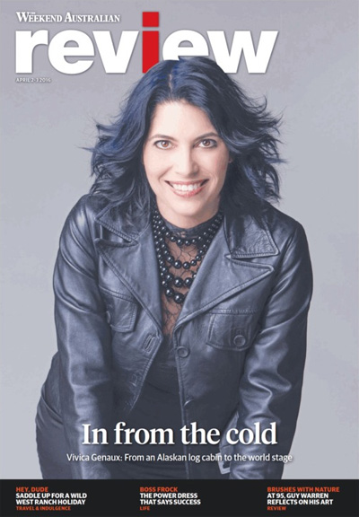 The Weekend Australian Review cover story: 'In From The Cold: Vivica Genaux' by Andrew McMillen, April 2016
