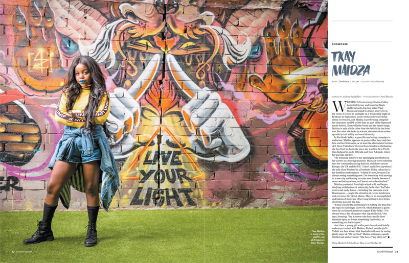 Artist Showcase – Tkay Maidza by Andrew McMillen in Good Weekend, 2016. Photo by Paul Harris