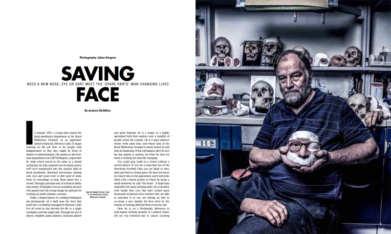 The Weekend Australian Magazine story: 'Saving Face: Brenton Cadd' by Andrew McMillen, October 2016. Photo by Julian Kingma